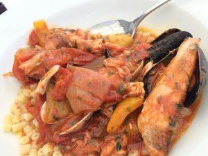 Tubetto condito con la zuppa di pesce