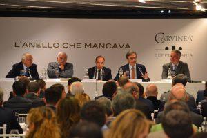 da sinistra - Beppe di Maria, Attilio Scienza, Bruno Vespa, Riccardo Cotarella, Paolo Lauciani