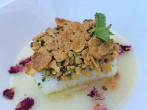 Baccalà Morro con cream di patate, pistacchio