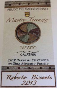 Cantina Feudo Dei Sanseverino, Mastro Terenzio Terre di Cosenza Pollino Moscato Passito 2013